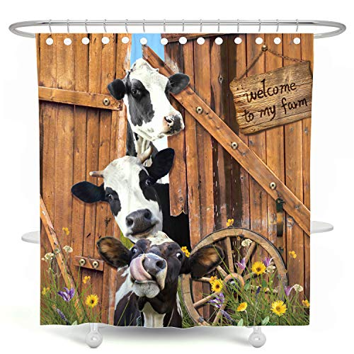 DESIHOM Farm Cow Shower Curtain Farmhouse Barn Door Shower Curtain Rustic Wood Shower Curtain Country Shower Curtain Polyester Waterproof Shower Curtain 72x72 Inch