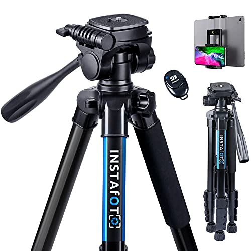 INSTAFOTO 66'' DSLR Camera Tripod for Canon Nikon with Remote Shutter, Phone/Tablet Holder & Carry Bag, Max. Load 11 pounds