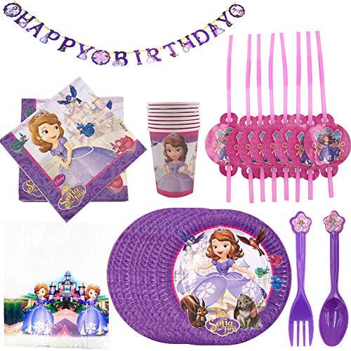 WENTS Kit de Artículos para Fiesta Cumpleaños Infantil Niña sofia -Vajilla Rosa y Decoración - Incluye Platos,Mantel,Servilletas,Tenedores- 8 Invitados