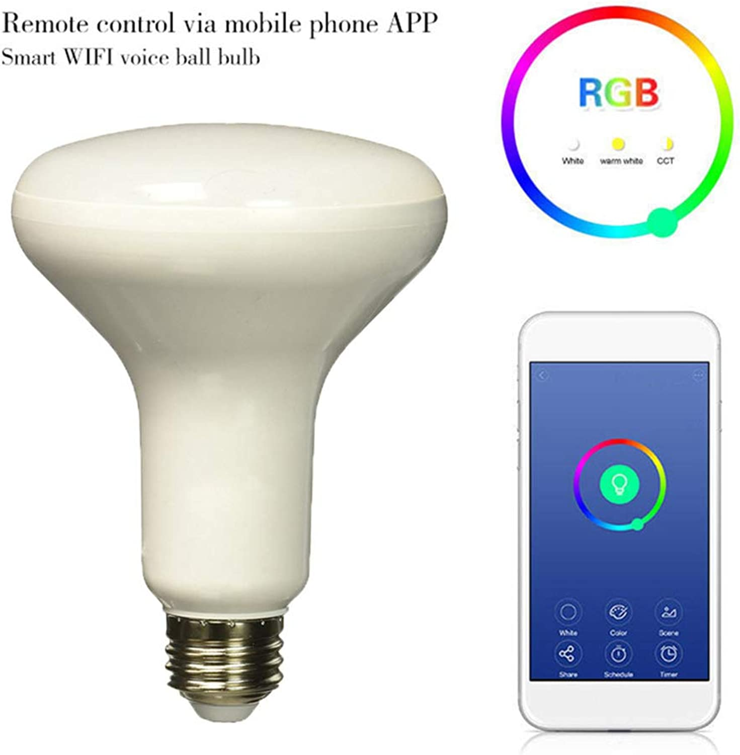 Smart WiFi Light Bulb, Dimmable RGB LED Bulb, Compatible with Alexa & Google Home, Remote Control, B22 E26 E27 Bayonet 60W Equivalent, No Hub Required