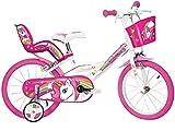 """Dino Bikes 164R-UN, bicicletta con motivo unicorno, con ruote da 16"""", colori bianco e rosa"""