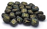 Juego de runas de piedra lunar arcoíris ~ Símbolos vikingos grabados runas de anciano, runas vikingas, runas de cristal natural para curación de Reiki y equilibrio energético