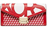 Michael Kors Whitney Large Graphic Logo Chain Wallet RED/WHT