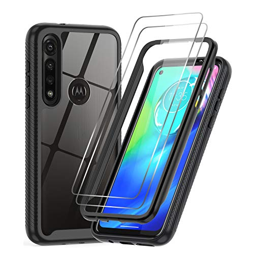 LeYi Moto G Power Case, Motorola G / G8 Power Case with 2 Tempered Glass Screen Protector, Full Body Protective Hybrid Rugged Bumper Clear Shockproof Phone Cover Case for Moto G Power 2020, Black