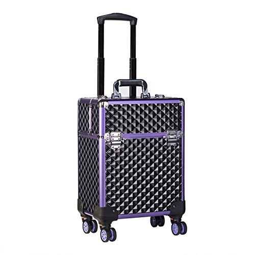 Joligrace Professional Makeup Trolley Cosmetic Vanity Box Make Up Organiser Beauty Rolling Case with Removeable Universal Wheels and Key Locks One Tier - Black-Purple