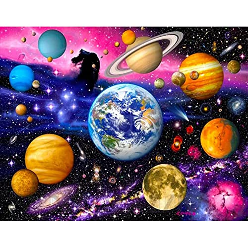 5D DIY diamante pintura paisaje espacio planeta espacio diamante bordado conjunto diamante mosaico imagen Mural A4 40x50cm