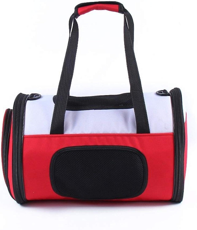 RedGoodThings Simple Pet Supplies Portable Messenger Bag Hand Bag Travel Breathable Dog Backpack (color   Red, Size   46  23  35cm)