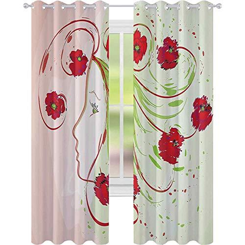 Kamer verduistering raamgordijnen, meisjesprofiel klaprozen bloemen haar in aquarel effect artistieke ontwerp print, W52 x L63 verduisterende gordijnpanelen voor kinderen, groen rood
