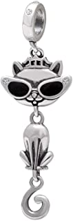 Sambaah Sterling Silver Dog Charm Puppy Pet Charm Bead with Crystals for Dog Lovers Charm Bracelets