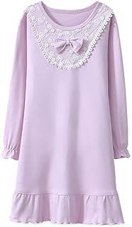 MUKATU Kids Girls Nightgown Princess 100% Cotton Lace Long Sleeve Solid Pajama  Sleepwear Dresses for Girls Purple c99a166d5