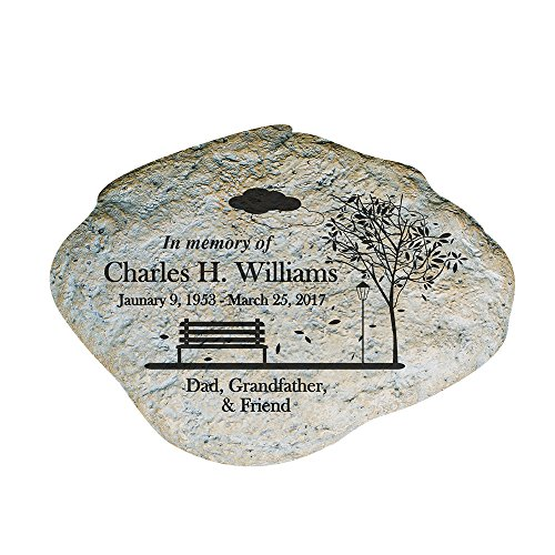 GiftsForYouNow Personalized Engraved Memorial Empty Bench Garden Stone, 11' x 8' x 1.5' Thick - Laser Etched Remembrance Stone with Name, Date and Message, Weather Resistant, Outdoor Decor