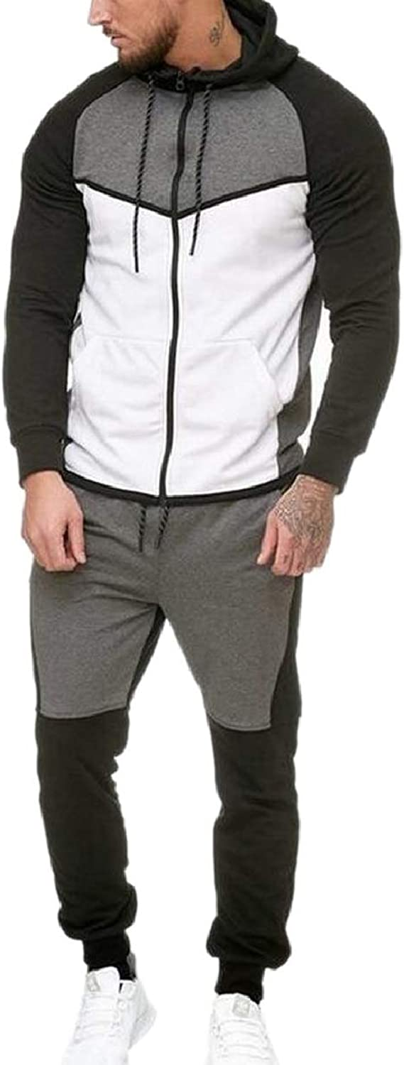 ZXFHZSCA Mens Casual Athletic Outdoor Spell color Stitch Sweatshirt+Pants Sets