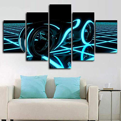 Canvas Picture 5 Piece - 150X80Cm Tron Legacy Light Cycle Chase Poster Canvas Prints 5 Part Panels - Ready To Hang - Wall Art Print - Completely Framed - Image Printed (ZYJ927)