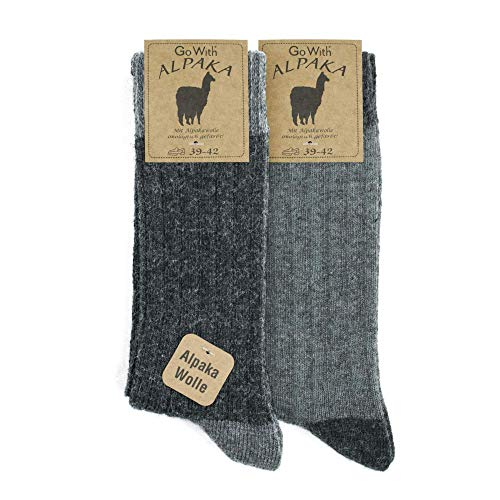 Alpaca Wool Socks for men and women, 2 pairs multipack, fine knit, warm, soft, cosy, natural wool, thermal, thick boot socks, walking hiking camping, grey beige brown size 6-8 and 9-11 (6-8, Greys)