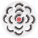 Veleasha Natural False Eyelashes 7 Pairs 5D Faux Mink Lashes Handmade Luxurious Volume Fluffy | Wing
