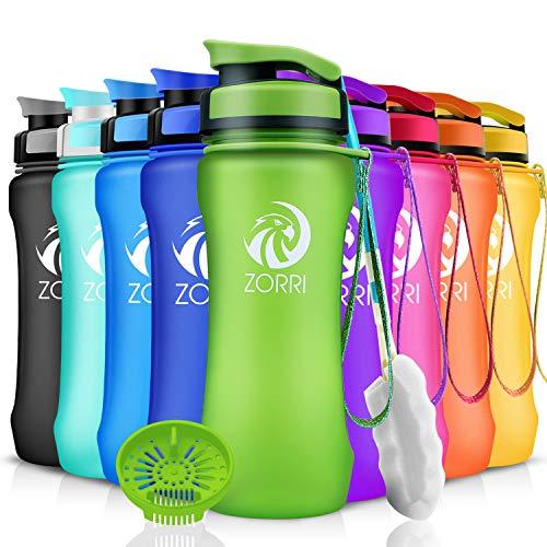 ZORRI Sport Trinkflasche auslaufsicher, BPA Frei & Umweltfreundlich Wasserflasche Für Kinder & Frauen, One Handed Open & Tritan, Für Gym/Outdoor/Camping - Grün - 600ml
