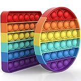 Yefun Sensorisches Fidget-Spielzeug, Blasen, spezielle Bedürfnisse, Stresslinderung, spezielle Bedürfnisse, stille Klassenzimmer (Regenbogen-Kreis und -Quadrat)