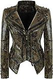 Nanly Women's Fashion Snake Pattern Print Studded Moto Pu Leather Biker Jacket