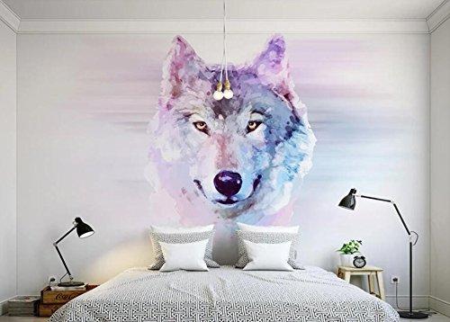 Keshj Benutzerdefinierte Fototapete 3D Tier Wolf Wandbild Tapete Wohnzimmer Schlafzimmer Sofa Hintergrund Dekorative Wand-120Cmx100Cm