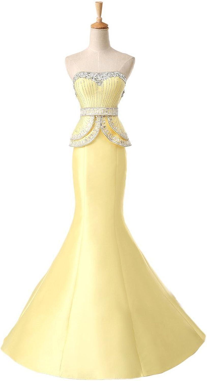 Angel Bride Crystals Satin Mermaid Evening Wedding Celebrity Gala Gown with Court Train