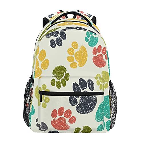 BOLOL - Mochila escolar con estampado de huellas de perro, gato, portátil, mochila de viaje para mujeres, niñas, hombres y niños