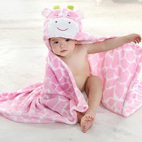 Baby Bademantel, EONHUAYU Soft Animal Kapuzendecke Baby Bad mit Kapuze für Baby Boys & Girls, 0-7 Jahre Alt (Rosa)