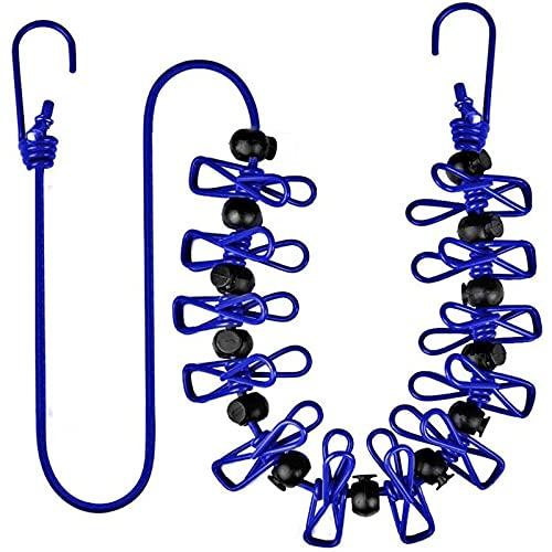 HSTG Tendedero de viaje, retráctil, tendedero a prueba de viento, línea de lavado, cuerda de ropa de camping con 12 pinzas