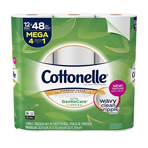 Cottonelle Ultra GentleCare Toilet Paper, 12 Mega Rolls, 4 Pack, 48 Total Mega Rolls, Sensitive Bath Tissue with Aloe & Vitamin E