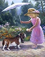 DIY 5Dダイヤモンド絵画キット、大人の子供初心者向け、刺繡クロスステッチクリスタルダイヤモンド絵画、風景動物の完璧なダイヤモンドアート-親切な女の子 40x50cm