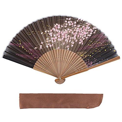 ヴィヴィラウンジ 絹 シルク 扇子 桜 花 花柄 扇子袋付 箱入り 母の日 プレゼント 暑さ 対策 レディース 女性 ブラウン