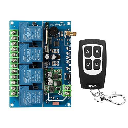 MING-MCZ Duradero Código de Aprendizaje del Interruptor de Control Remoto del Canal DC12-48V 180-700W 30A Relé de Cuatro vías 433MHz 4CH Fácil de Montar