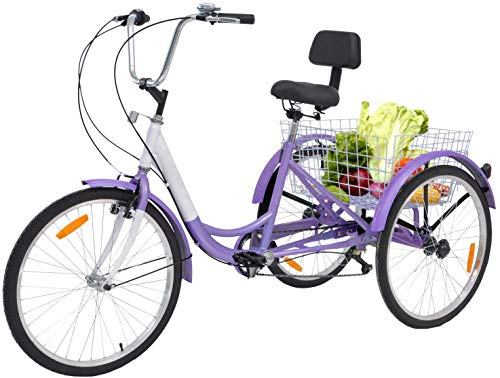 Barbella Adult Tricycle, 24-Inch Single and 7 Speed Three-Wheeled Cruise Bike with Large Size Basket for Recreation, Shopping, Exercise Men's Women's Bike (Lavender Purple)