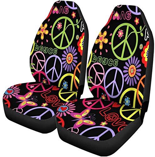 Fundas para asientos de automóvil Patrón de colores Hippie Símbolo de la paz Setas y flores abstractas Juego de 2 protectores Accesorios para el interior del automóvil Ajuste universal La mayoría de