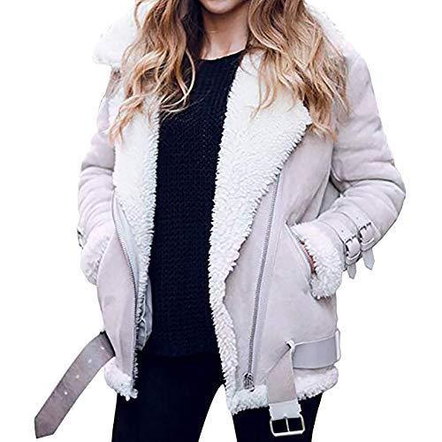 OverDose Damen Kurzmantel Offene Jacke Damen Faux Wildleder Warme Jacke Zipper Up Vorne Mantel Outing Soft Outwear mit Taschen(Grau1,40 DE/XXL CN )