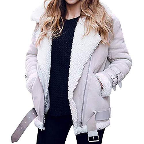 HEETEY Frauen Mode lässig Mantel Winter Frauen Kunstpelz Fleece Mantel Outwear Warmer Revers Motorrad-Motor Fliegerjacke Lammfell Mantel Revers