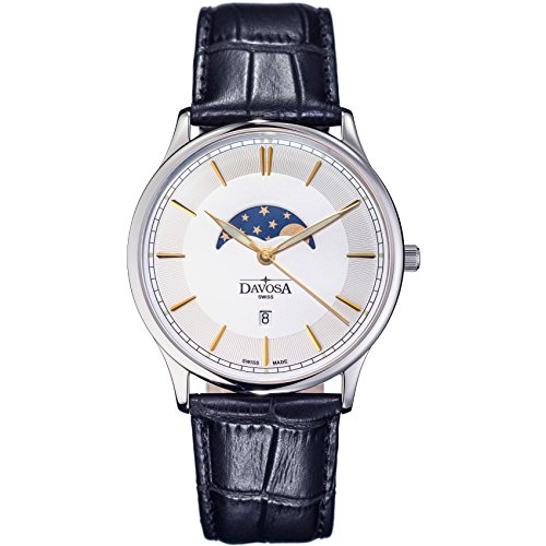 Davosa Swiss Made Wrist Watch - Quartz Movement Analog Watch Professional Flatline Phase of Moon with Leather Strap Band (16249615)