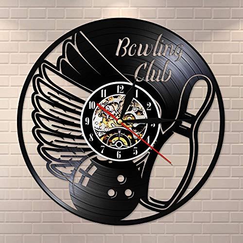 Regalos para Hombres Deporte Bolos Reloj de Pared con Disco de Vinilo Vintage Reloj silencioso sin tictac Cocina Sala de Estar Dormitorio Reloj