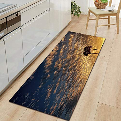 HLXX Paisaje cálido luz Solar Alfombra de Cocina Alfombra de Puerta de Entrada decoración de Piso de Dormitorio Sala de Estar Alfombra de baño A8 40x120cm