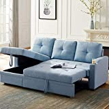 Merax Reversible Sectional Sofa Sleeper Sectional Couch Pull-Out Sofa Bed L-Shape Upholstered Sofa Bed with Storage Chaise and Two Cupholders for Living Room
