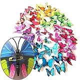 2 Set Creative 3D Couleur Papillon Stickers Muraux Salon Chambre Décoration Fournitures, Style de Pin, Livraison Couleur Aléa