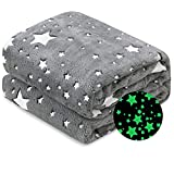 ALPRANG Glow in The Dark Throw Blanket with Star Design, Soft Plush Microfiber Flannel Blanket for Kids and Adults Luminous Throw for Sofa Couch Car Large Glowing Blanket( 60''x80'')