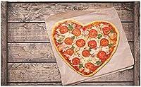 HiYash ピザとマットトマトとチーズハート型のイタリアの文化的な食べ物の写真ヴィラフロアマットオフィスカーペットスタディカーペット40x60cmフランネル生地