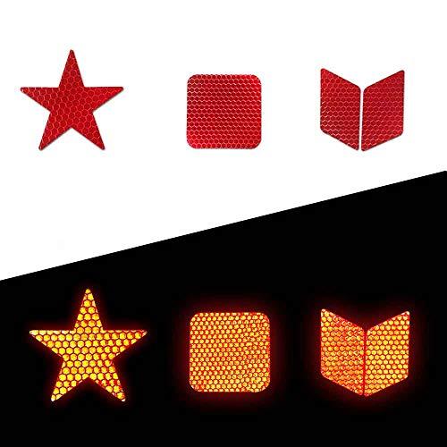 Muchkey Adhesivas Reflectantes Impermeable para señalización Casco 21pcs Rojo