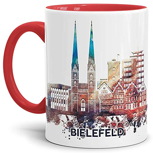Tassendruck Bielefeld-Tasse Skyline - Kaffeetasse/Souvenir/Silhouette/Städte-Tasse/Mug/Cup/Becher/Beste Qualität - 25 Jahre Erfahrung - Innen & Henkel Rot