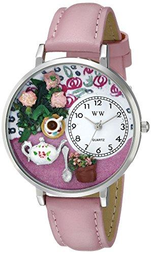 紅茶と薔薇ピンクレザー シルバーフレーム時計 #U1210011