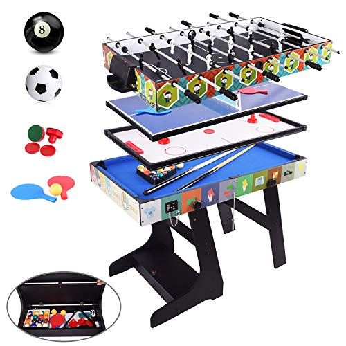 OYE Multi Sports Game Table Folding Combo Table-Snooker/Pool Table/Table Tennis Table/Air Hockey Table/Football Table with Accessories Storage Case