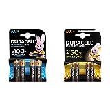 Duracell Ultra AA con Powerchek, Pilas Alcalinas, Paquete de 4, 1.5 Voltios LR06 MX1500 + Plus AAA - Pilas Alcalinas Paquete de 4, 1.5 Voltios LR03 MN2400