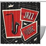 Duschvorhang Musiksaxophon Jazz Instrument Rot Grau für Badezimmer