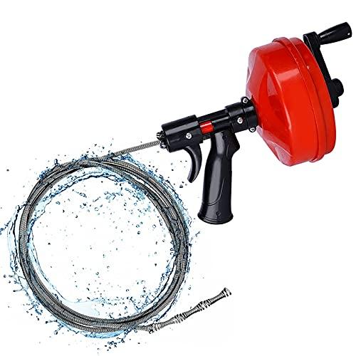 Desbloqueador de drenaje de barrena con conector de taladro, cable limpiador de drenaje de 5 m/10 m para lavabo de baño, cocina, desagüe de ducha (5 m)