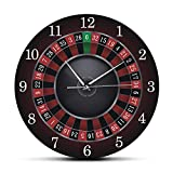 Wall Clock Poker Roulette Wall Clock Las Vegas Game Room Wall Art Decor Timepiece Clock Watch Gambling Casino Gift Easy to Read for Room/Home/Kitchen/Bedroom/Office/School